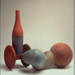 Push/Pull - Acrylic over clay, 27x32x19in., 1997